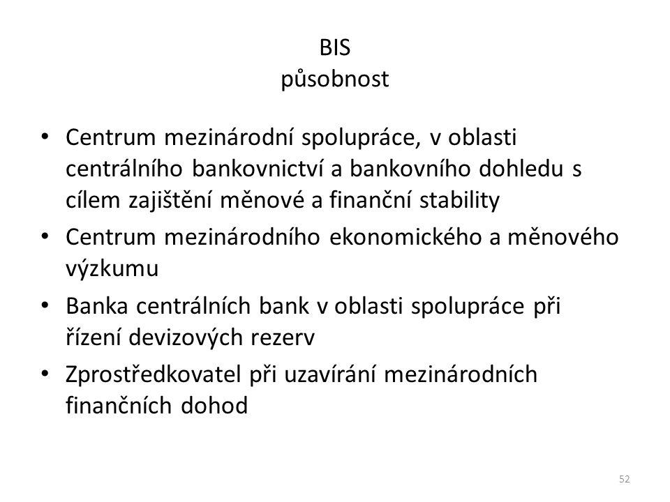 BIS působnost Centrum mezinárodní spolupráce, v oblasti centrálního bankovnictví a bankovního dohledu s cílem zajištění měnové a finanční stability Centrum mezinárodního ekonomického a měnového výzkumu Banka centrálních bank v oblasti spolupráce při řízení devizových rezerv Zprostředkovatel při uzavírání mezinárodních finančních dohod 52