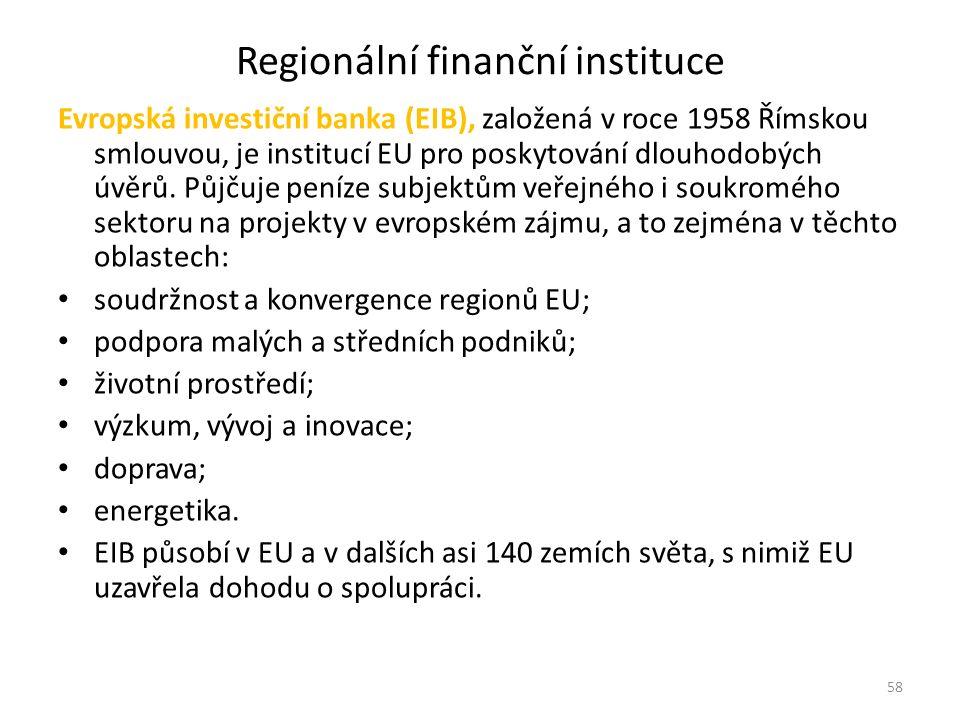 Regionální finanční instituce Evropská investiční banka (EIB), založená v roce 1958 Římskou smlouvou, je institucí EU pro poskytování dlouhodobých úvě
