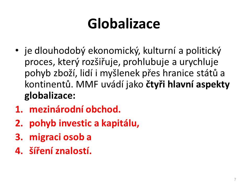 Globalizace je dlouhodobý ekonomický, kulturní a politický proces, který rozšiřuje, prohlubuje a urychluje pohyb zboží, lidí i myšlenek přes hranice států a kontinentů.