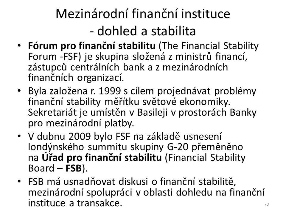 Mezinárodní finanční instituce - dohled a stabilita Fórum pro finanční stabilitu (The Financial Stability Forum -FSF) je skupina složená z ministrů financí, zástupců centrálních bank a z mezinárodních finančních organizací.