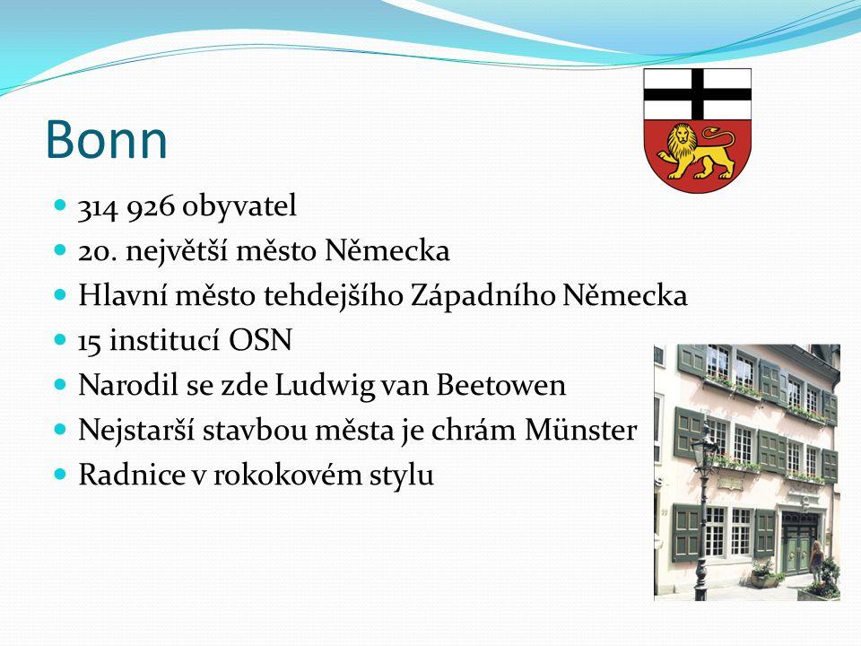 Bonn 314 926 obyvatel 20. největší město Německa Hlavní město tehdejšího Západního Německa 15 institucí OSN Narodil se zde Ludwig van Beetowen Nejstar