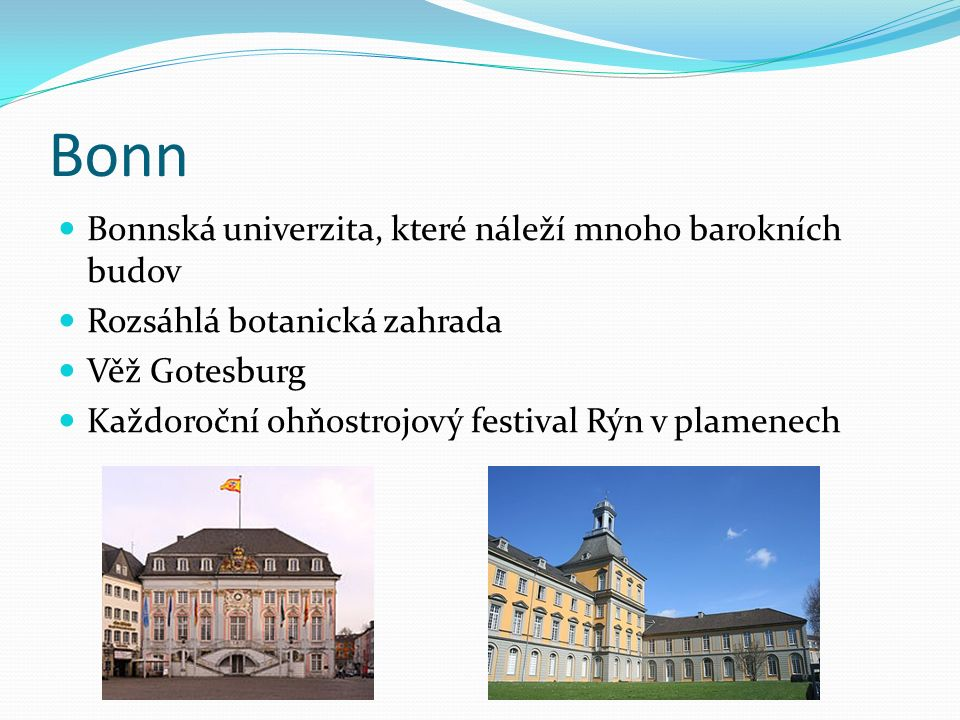 Bonn Bonnská univerzita, které náleží mnoho barokních budov Rozsáhlá botanická zahrada Věž Gotesburg Každoroční ohňostrojový festival Rýn v plamenech