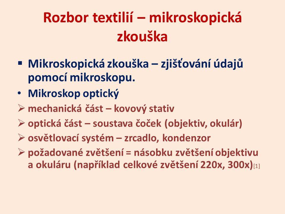 Rozbor textilií – mikroskopická zkouška  Mikroskopická zkouška – zjišťování údajů pomocí mikroskopu. Mikroskop optický  mechanická část – kovový sta