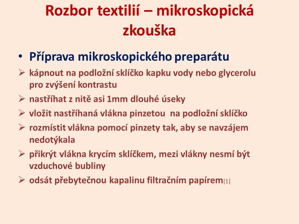 Rozbor textilií – mikroskopická zkouška Příprava mikroskopického preparátu  kápnout na podložní sklíčko kapku vody nebo glycerolu pro zvýšení kontras