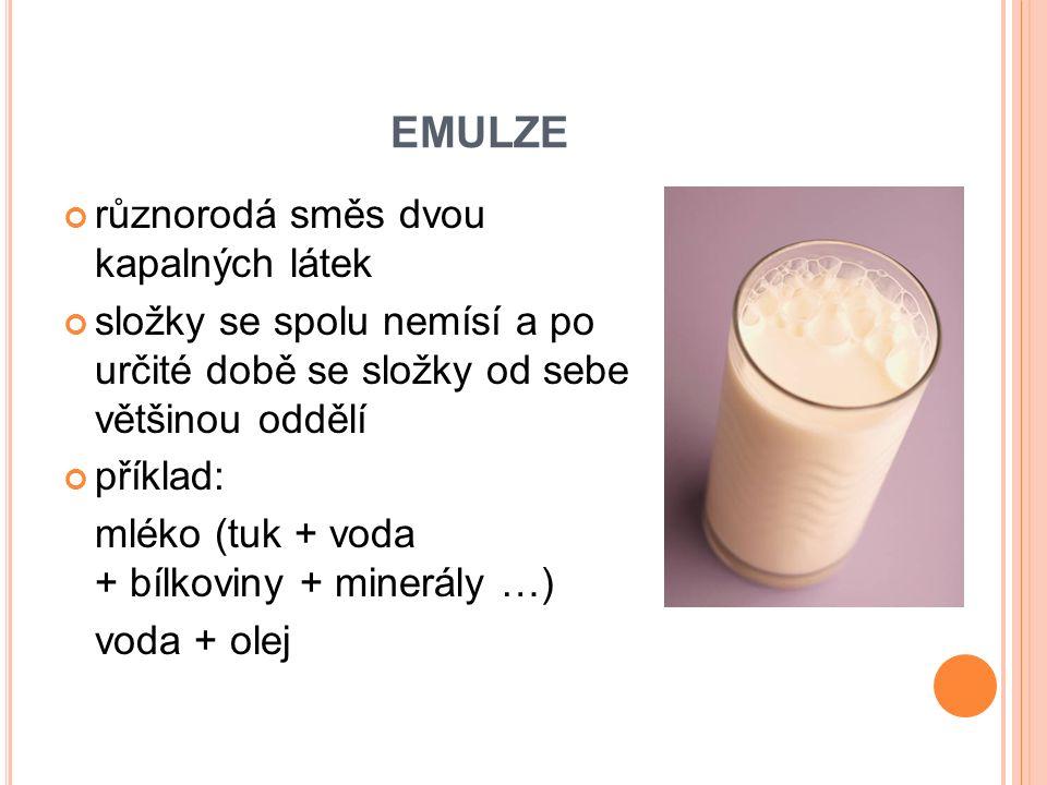 EMULZE různorodá směs dvou kapalných látek složky se spolu nemísí a po určité době se složky od sebe většinou oddělí příklad: mléko (tuk + voda + bílkoviny + minerály …) voda + olej