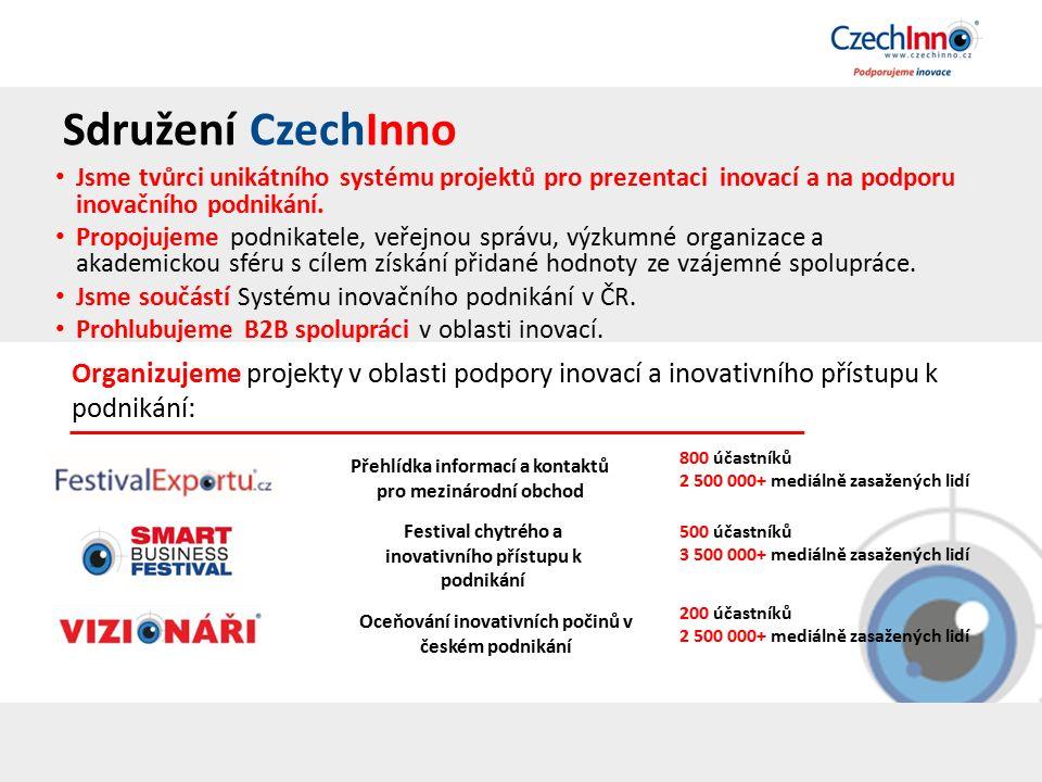 Sdružení CzechInno Jsme tvůrci unikátního systému projektů pro prezentaci inovací a na podporu inovačního podnikání.