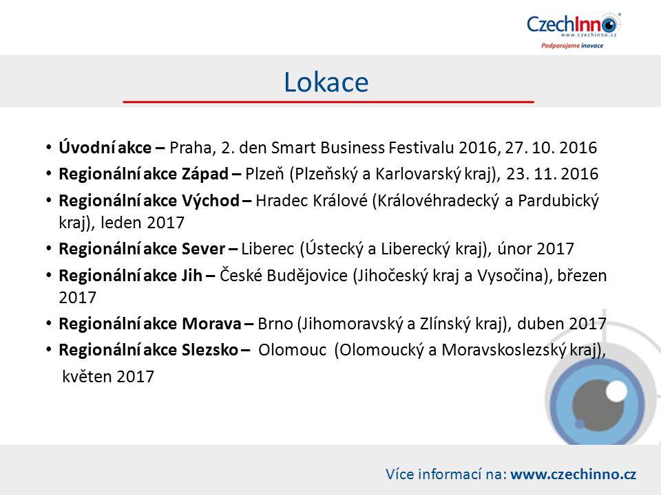 Více informací na: www.czechinno.cz Lokace Úvodní akce – Praha, 2.