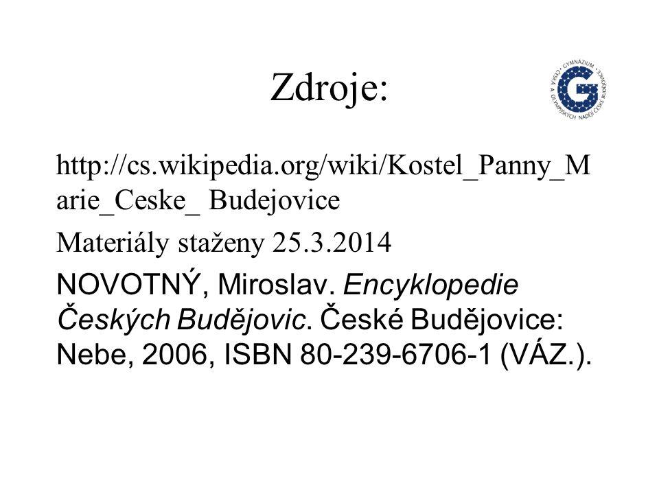Zdroje: http://cs.wikipedia.org/wiki/Kostel_Panny_M arie_Ceske_ Budejovice Materiály staženy 25.3.2014 NOVOTNÝ, Miroslav.