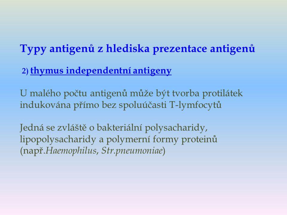Typy antigenů z hlediska prezentace antigenů 2) thymus independentní antigeny U malého počtu antigenů může být tvorba protilátek indukována přímo bez spoluúčasti T-lymfocytů Jedná se zvláště o bakteriální polysacharidy, lipopolysacharidy a polymerní formy proteinů (např.