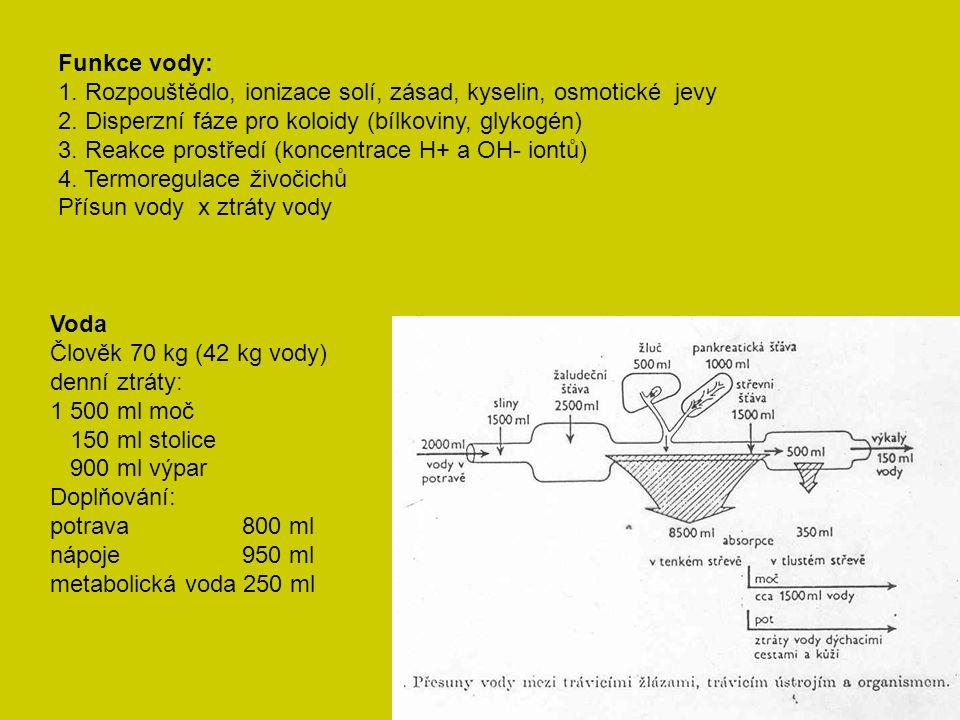 Funkce vody: 1. Rozpouštědlo, ionizace solí, zásad, kyselin, osmotické jevy 2.