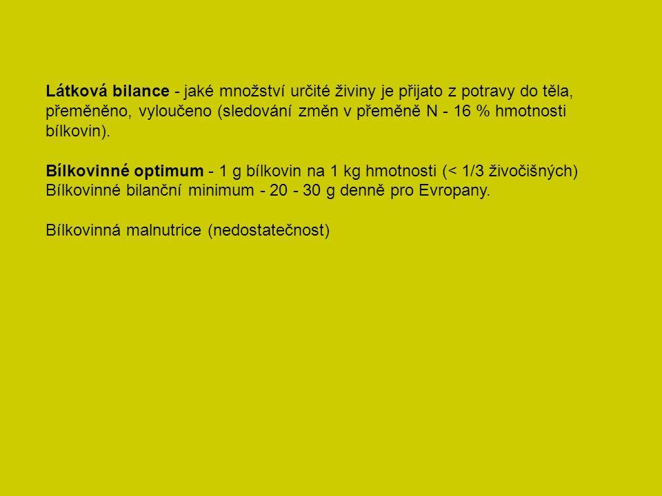 Látková bilance - jaké množství určité živiny je přijato z potravy do těla, přeměněno, vyloučeno (sledování změn v přeměně N - 16 % hmotnosti bílkovin).