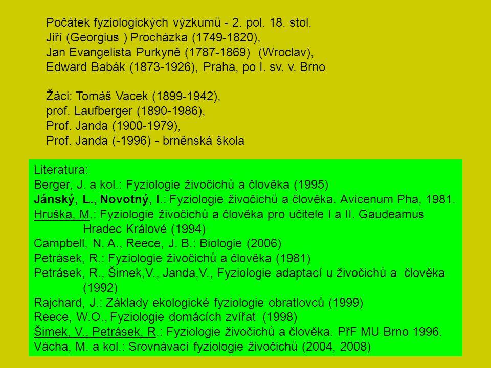 Počátek fyziologických výzkumů - 2. pol. 18. stol.