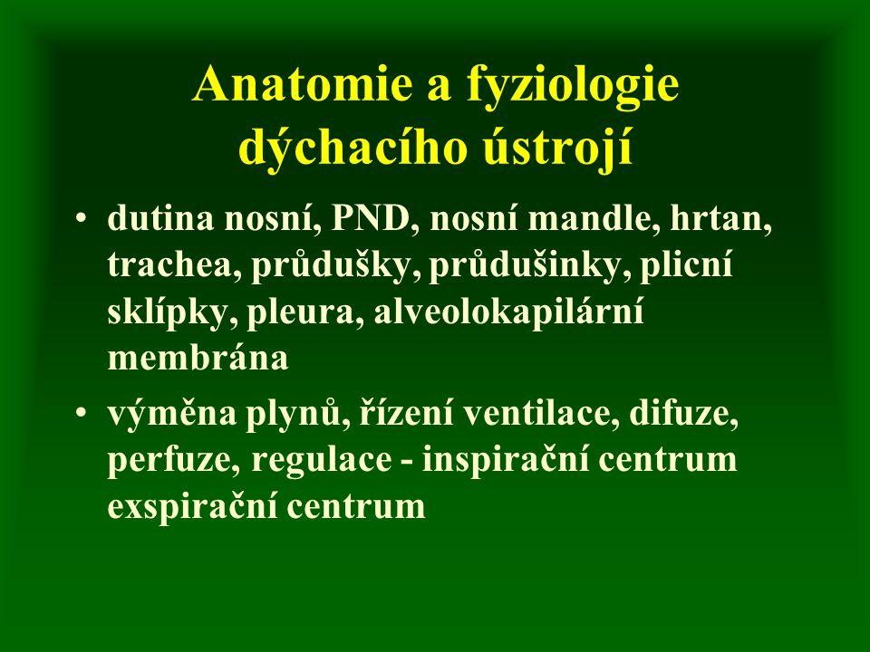 Anatomie a fyziologie dýchacího ústrojí dutina nosní, PND, nosní mandle, hrtan, trachea, průdušky, průdušinky, plicní sklípky, pleura, alveolokapilární membrána výměna plynů, řízení ventilace, difuze, perfuze, regulace - inspirační centrum exspirační centrum