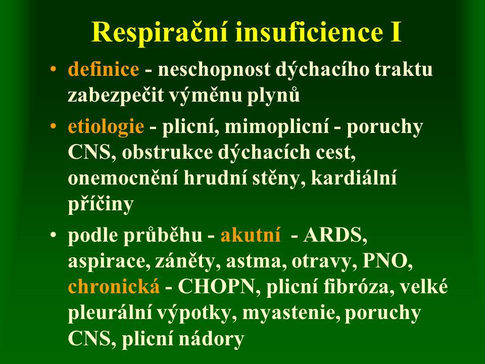 Respirační insuficience I definice - neschopnost dýchacího traktu zabezpečit výměnu plynů etiologie - plicní, mimoplicní - poruchy CNS, obstrukce dýchacích cest, onemocnění hrudní stěny, kardiální příčiny podle průběhu - akutní - ARDS, aspirace, záněty, astma, otravy, PNO, chronická - CHOPN, plicní fibróza, velké pleurální výpotky, myastenie, poruchy CNS, plicní nádory