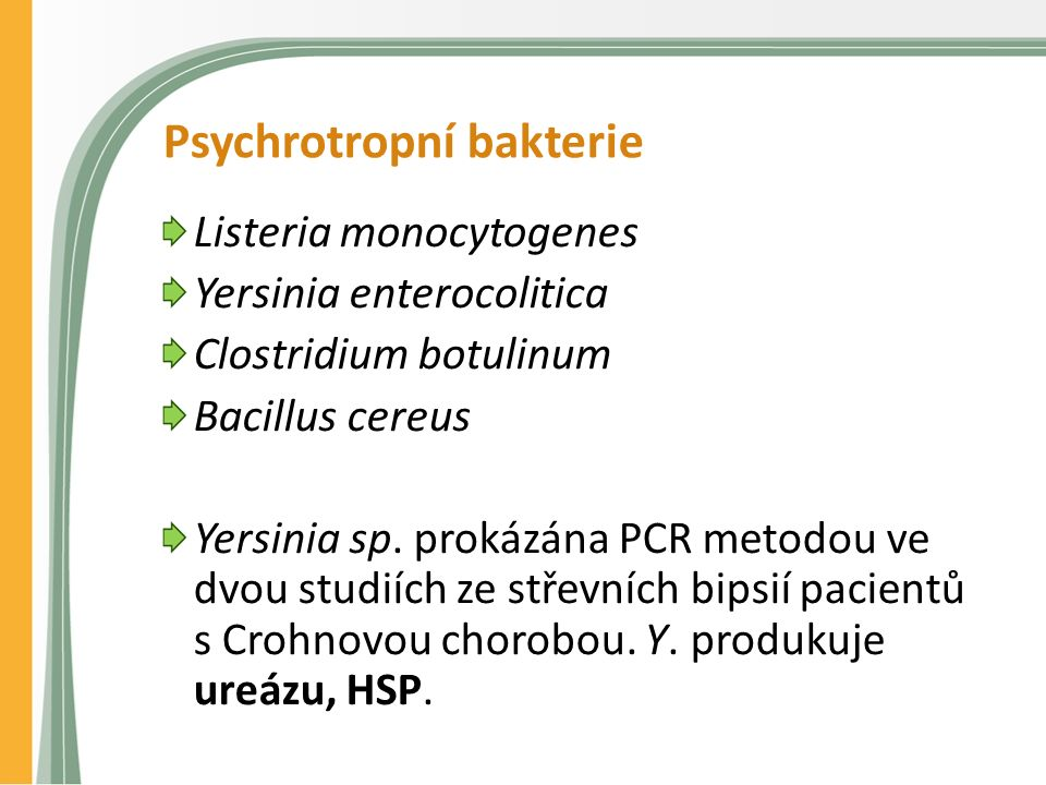 Psychrotropní bakterie Listeria monocytogenes Yersinia enterocolitica Clostridium botulinum Bacillus cereus Yersinia sp.