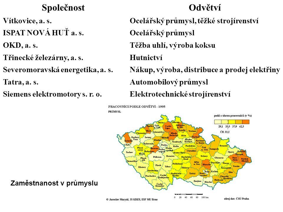 SpolečnostOdvětví Vítkovice, a. s.Ocelářský průmysl, těžké strojírenství ISPAT NOVÁ HUŤ a. s.Ocelářský průmysl OKD, a. s.Těžba uhlí, výroba koksu Třin