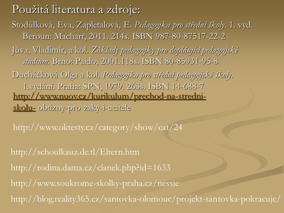Použitá literatura a zdroje: Stodůlková, Eva, Zapletalová, E.