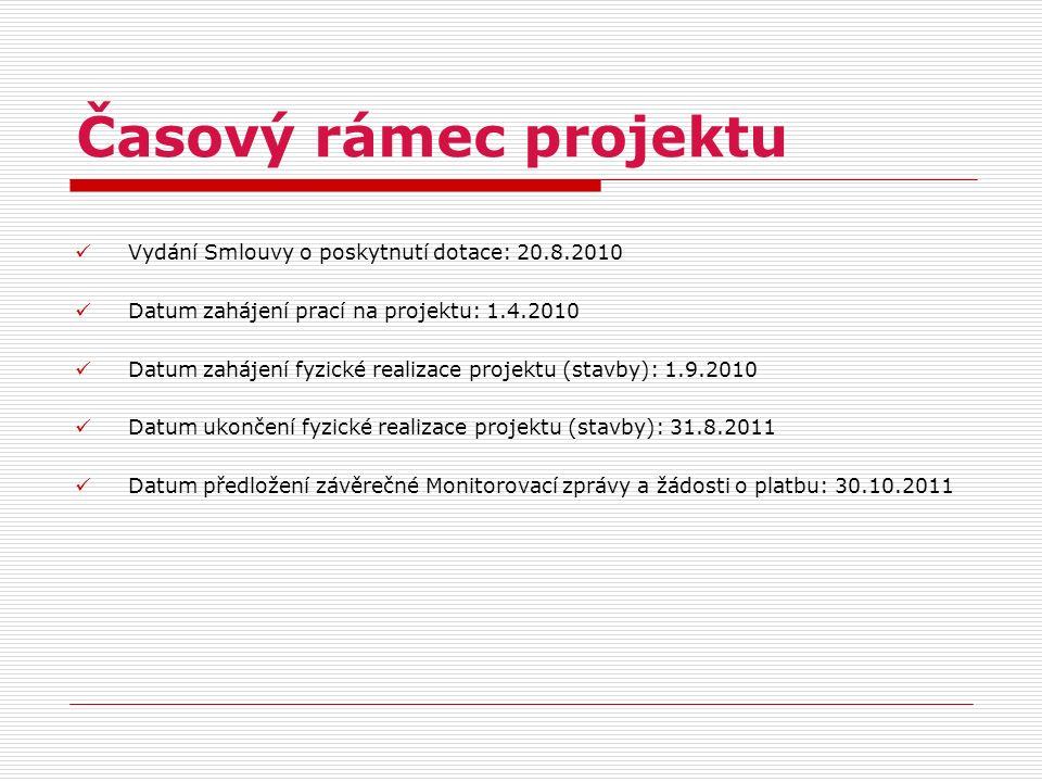 Časový rámec projektu Vydání Smlouvy o poskytnutí dotace: 20.8.2010 Datum zahájení prací na projektu: 1.4.2010 Datum zahájení fyzické realizace projek