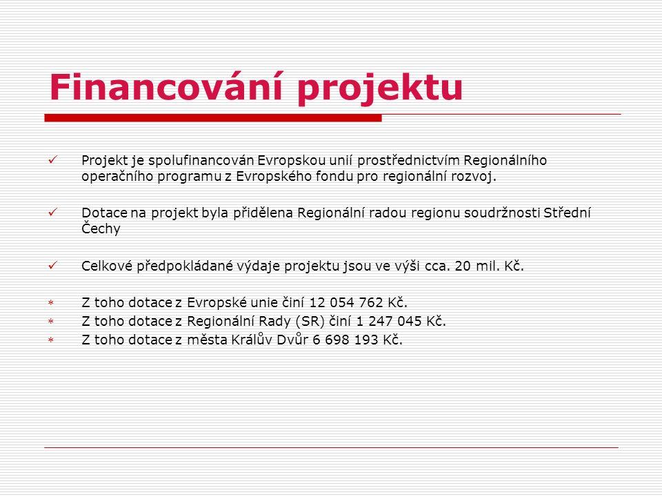 Financování projektu Projekt je spolufinancován Evropskou unií prostřednictvím Regionálního operačního programu z Evropského fondu pro regionální rozv