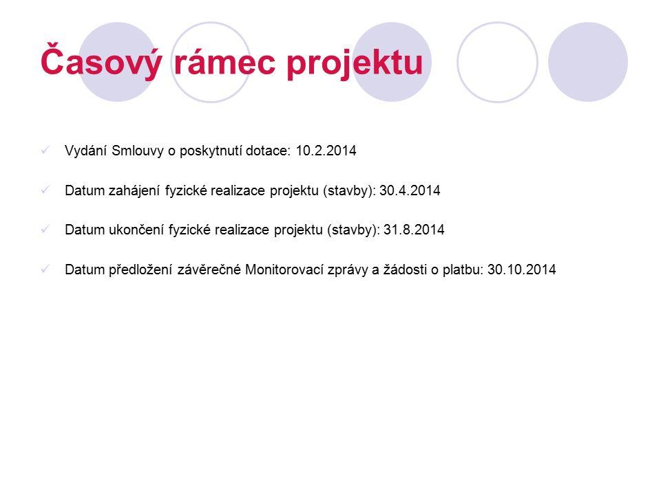 Časový rámec projektu Vydání Smlouvy o poskytnutí dotace: 10.2.2014 Datum zahájení fyzické realizace projektu (stavby): 30.4.2014 Datum ukončení fyzic