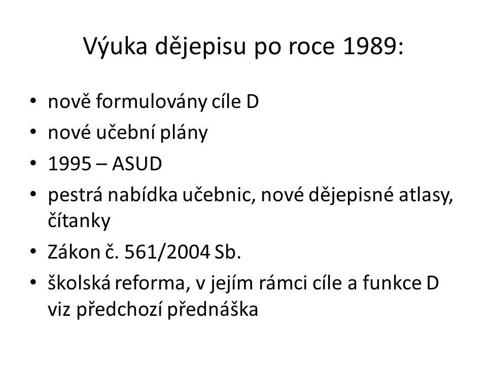 Výuka dějepisu po roce 1989: nově formulovány cíle D nové učební plány 1995 – ASUD pestrá nabídka učebnic, nové dějepisné atlasy, čítanky Zákon č.