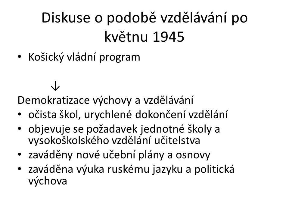 Diskuse o podobě vzdělávání po květnu 1945 Košický vládní program ↓ Demokratizace výchovy a vzdělávání očista škol, urychlené dokončení vzdělání objevuje se požadavek jednotné školy a vysokoškolského vzdělání učitelstva zaváděny nové učební plány a osnovy zaváděna výuka ruskému jazyku a politická výchova