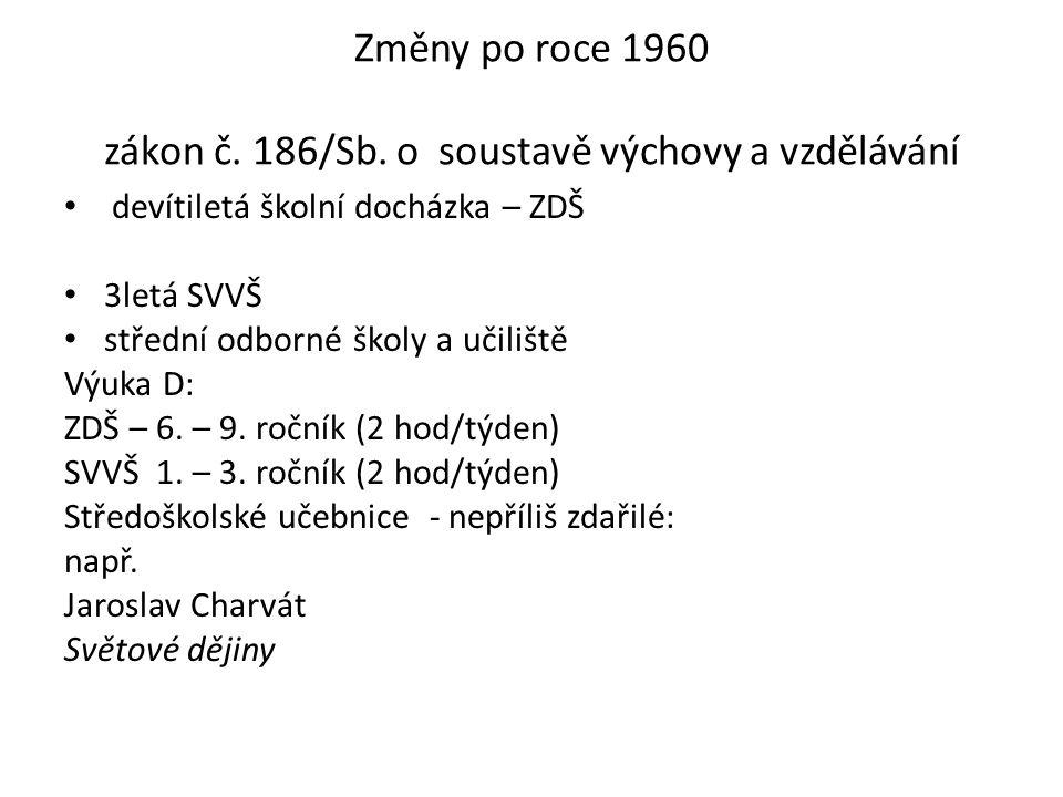 Změny po roce 1960 zákon č. 186/Sb.