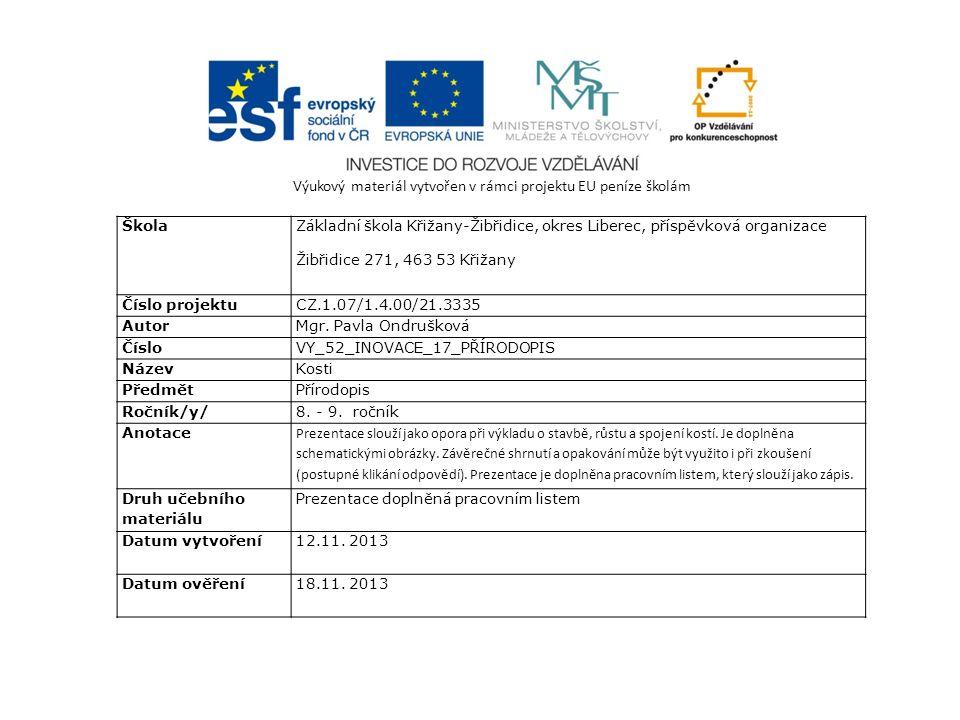 Výukový materiál vytvořen v rámci projektu EU peníze školám Škola Základní škola Křižany-Žibřidice, okres Liberec, příspěvková organizace Žibřidice 271, 463 53 Křižany Číslo projektuCZ.1.07/1.4.00/21.3335 AutorMgr.