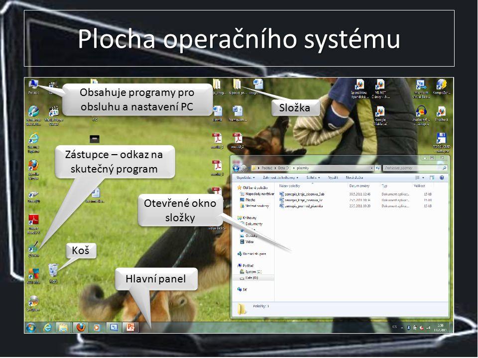 Plocha operačního systému Obsahuje programy pro obsluhu a nastavení PC Hlavní panel Otevřené okno složky Složka Zástupce – odkaz na skutečný program Koš
