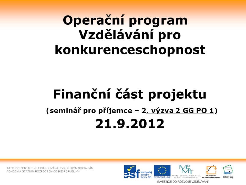 1 Operační program Vzdělávání pro konkurenceschopnost Finanční část projektu (seminář pro příjemce – 2. výzva 2 GG PO 1) 21.9.2012