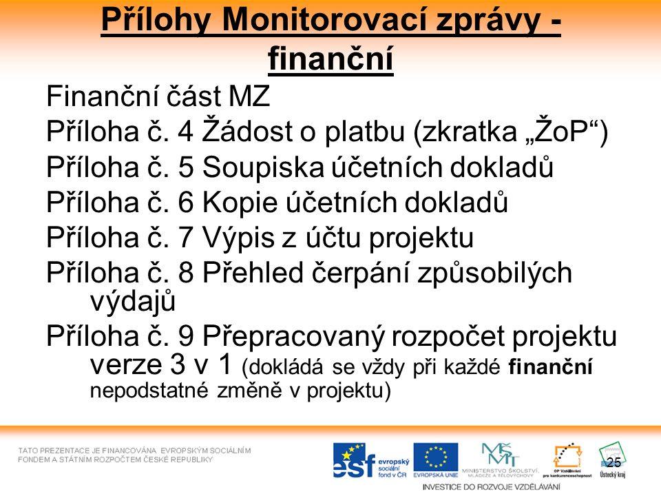 """25 Přílohy Monitorovací zprávy - finanční Finanční část MZ Příloha č. 4 Žádost o platbu (zkratka """"ŽoP"""") Příloha č. 5 Soupiska účetních dokladů Příloha"""