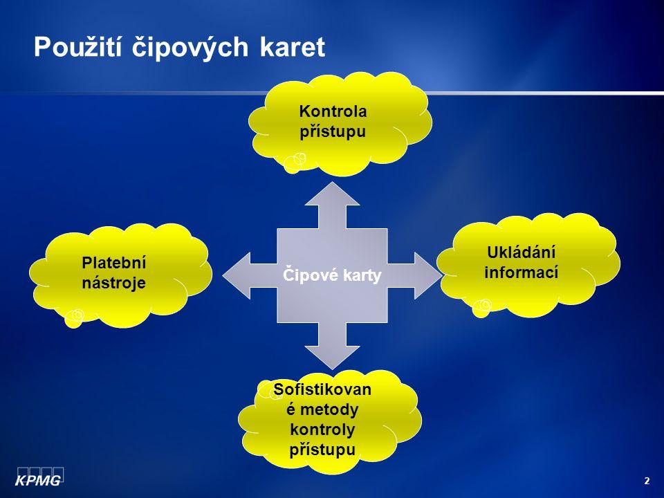 2 Použití čipových karet Čipové karty Platební nástroje Ukládání informací Sofistikovan é metody kontroly přístupu Kontrola přístupu
