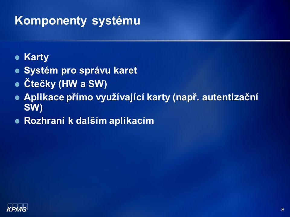 9 Komponenty systému Karty Systém pro správu karet Čtečky (HW a SW) Aplikace přímo využívající karty (např.
