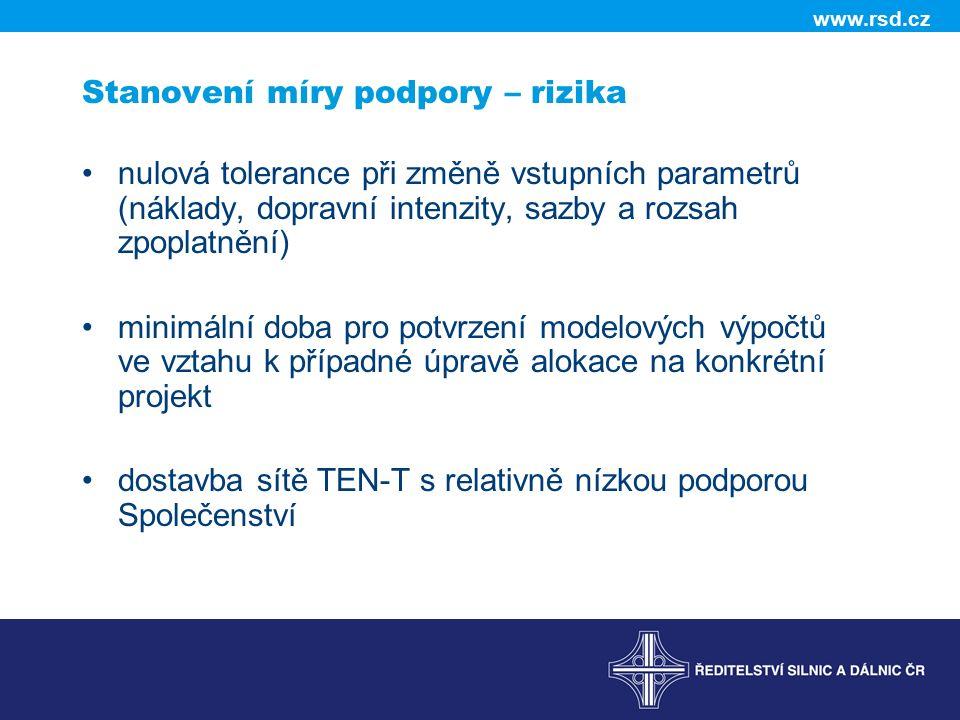 www.rsd.cz Stanovení míry podpory – rizika nulová tolerance při změně vstupních parametrů (náklady, dopravní intenzity, sazby a rozsah zpoplatnění) mi
