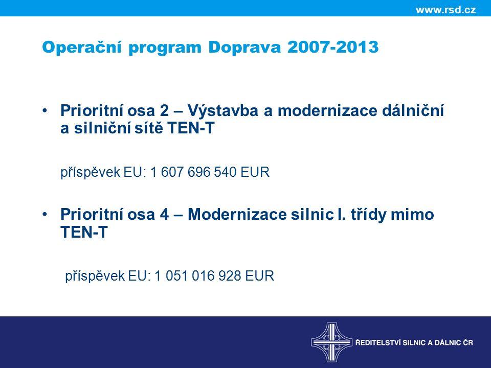 www.rsd.cz Operační program Doprava 2007-2013 Prioritní osa 2 – Výstavba a modernizace dálniční a silniční sítě TEN-T příspěvek EU: 1 607 696 540 EUR Prioritní osa 4 – Modernizace silnic I.