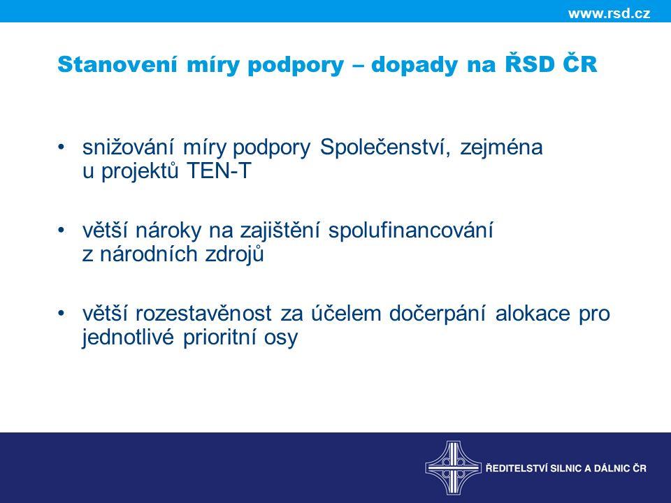 Stanovení míry podpory – dopady na ŘSD ČR snižování míry podpory Společenství, zejména u projektů TEN-T větší nároky na zajištění spolufinancování z n