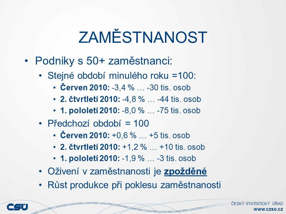 ČESKÝ STATISTICKÝ ÚŘAD www.czso.cz ZAMĚSTNANOST Podniky s 50+ zaměstnanci: Stejné období minulého roku =100: Červen 2010: -3,4 % … -30 tis.
