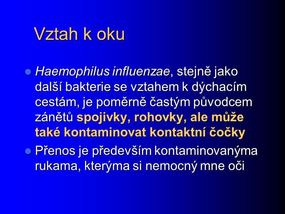 Vztah k oku Haemophilus influenzae, stejně jako další bakterie se vztahem k dýchacím cestám, je poměrně častým původcem zánětů spojivky, rohovky, ale může také kontaminovat kontaktní čočky Haemophilus influenzae, stejně jako další bakterie se vztahem k dýchacím cestám, je poměrně častým původcem zánětů spojivky, rohovky, ale může také kontaminovat kontaktní čočky Přenos je především kontaminovanýma rukama, kterýma si nemocný mne oči Přenos je především kontaminovanýma rukama, kterýma si nemocný mne oči