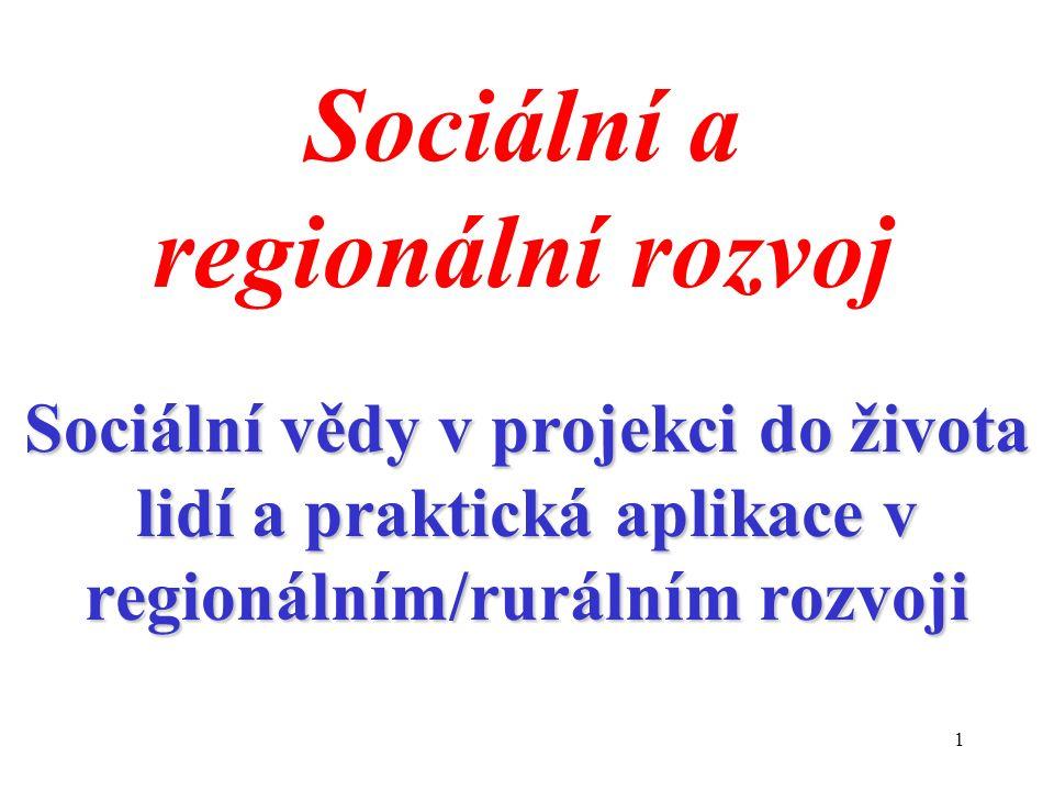 1 Sociální a regionální rozvoj Sociální vědy v projekci do života lidí a praktická aplikace v regionálním/rurálním rozvoji