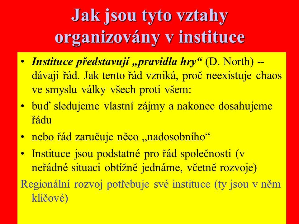 """21 Jak jsou tyto vztahy organizovány v instituce Instituce představují """"pravidla hry (D."""