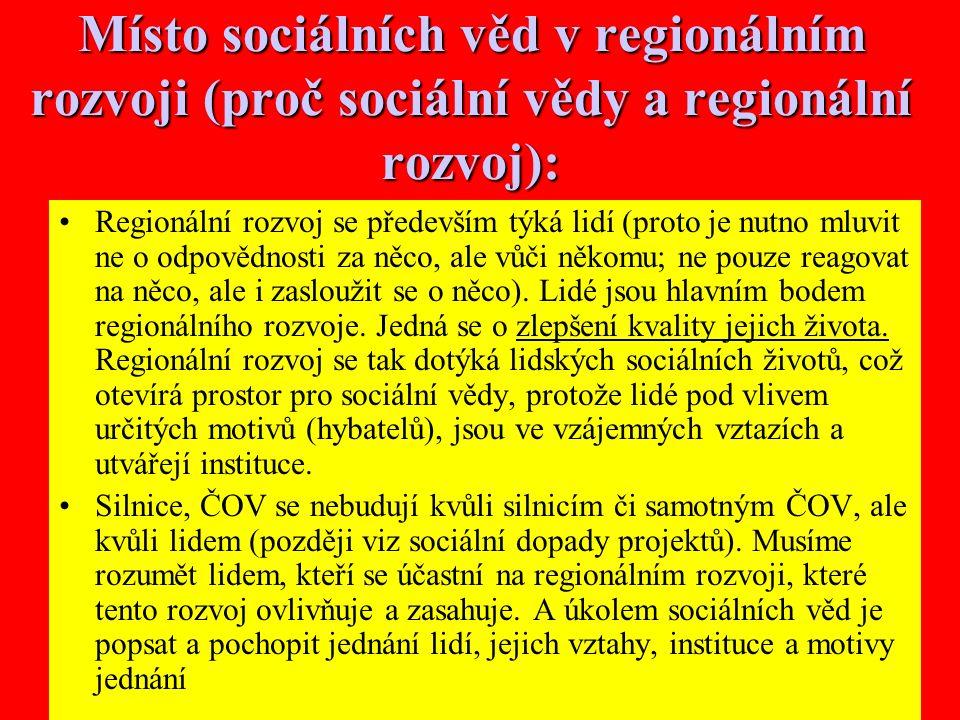 30 Místo sociálních věd v regionálním rozvoji (proč sociální vědy a regionální rozvoj): Regionální rozvoj se především týká lidí (proto je nutno mluvit ne o odpovědnosti za něco, ale vůči někomu; ne pouze reagovat na něco, ale i zasloužit se o něco).