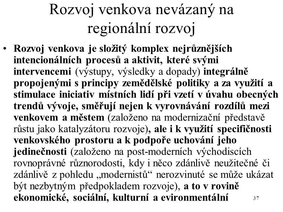 """37 Rozvoj venkova nevázaný na regionální rozvoj Rozvoj venkova je složitý komplex nejrůznějších intencionálních procesů a aktivit, které svými intervencemi (výstupy, výsledky a dopady) integrálně propojenými s principy zemědělské politiky a za využití a stimulace iniciativ místních lidí při vzetí v úvahu obecných trendů vývoje, směřují nejen k vyrovnávání rozdílů mezi venkovem a městem (založeno na modernizační představě růstu jako katalyzátoru rozvoje), ale i k využití specifičnosti venkovského prostoru a k podpoře uchování jeho jedinečnosti (založeno na post-moderních východiscích rovnoprávné různorodosti, kdy i něco zdánlivě neužitečné či zdánlivě z pohledu """"modernistů nerozvinuté se může ukázat být nezbytným předpokladem rozvoje), a to v rovině ekonomické, sociální, kulturní a evironmentální"""