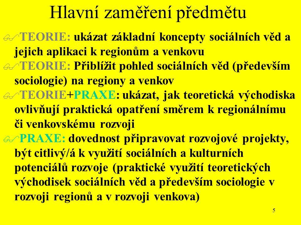 5 Hlavní zaměření předmětu  TEORIE: ukázat základní koncepty sociálních věd a jejich aplikaci k regionům a venkovu  TEORIE: Přiblížit pohled sociálních věd (především sociologie) na regiony a venkov  TEORIE+PRAXE: ukázat, jak teoretická východiska ovlivňují praktická opatření směrem k regionálnímu či venkovskému rozvoji  PRAXE: dovednost připravovat rozvojové projekty, být citlivý/á k využití sociálních a kulturních potenciálů rozvoje (praktické využití teoretických východisek sociálních věd a především sociologie v rozvoji regionů a v rozvoji venkova)
