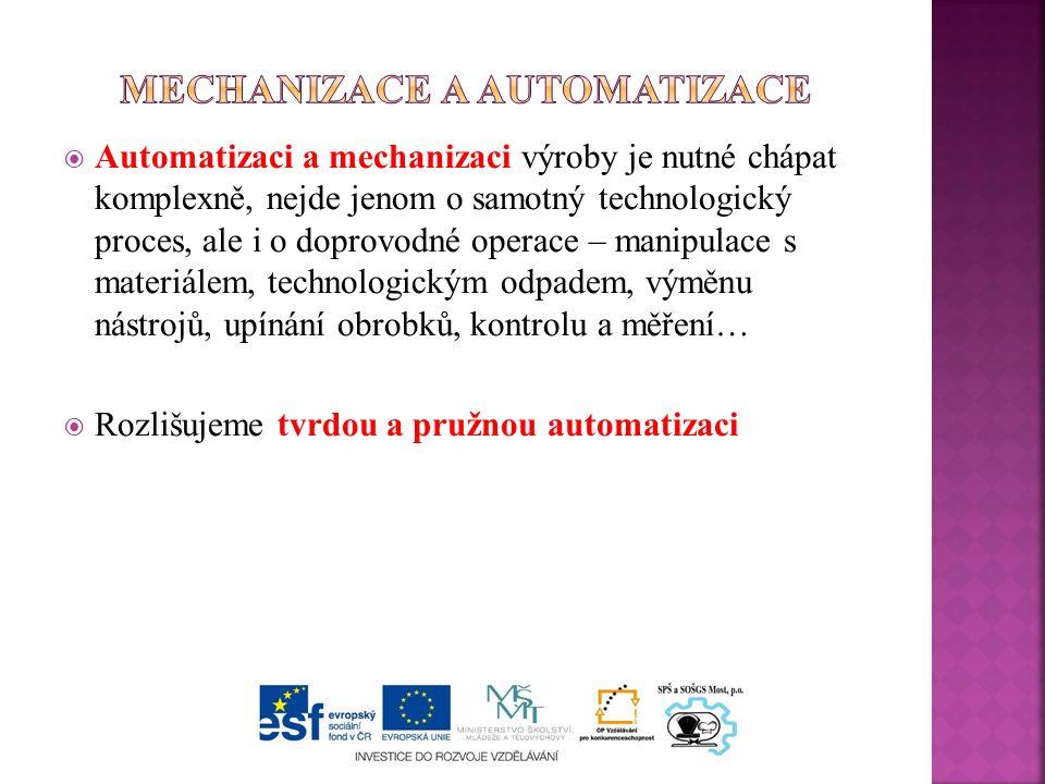  Automatizaci a mechanizaci výroby je nutné chápat komplexně, nejde jenom o samotný technologický proces, ale i o doprovodné operace – manipulace s materiálem, technologickým odpadem, výměnu nástrojů, upínání obrobků, kontrolu a měření…  Rozlišujeme tvrdou a pružnou automatizaci