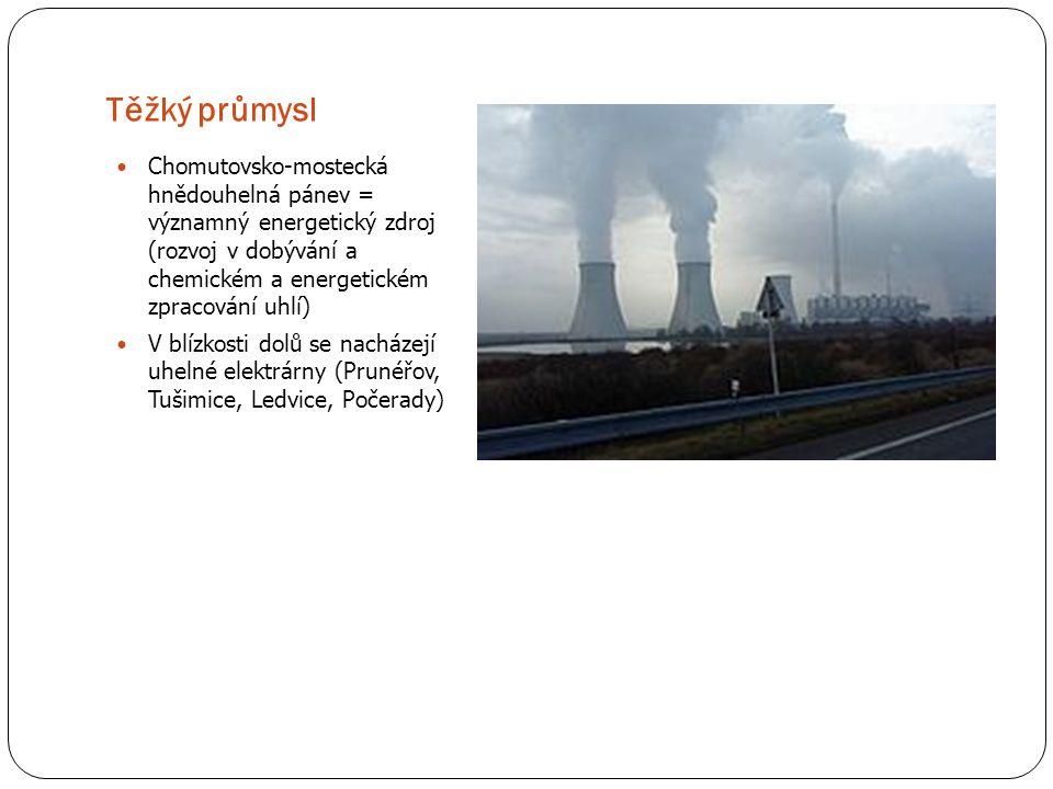 Těžký průmysl Chomutovsko-mostecká hnědouhelná pánev = významný energetický zdroj (rozvoj v dobývání a chemickém a energetickém zpracování uhlí) V blí