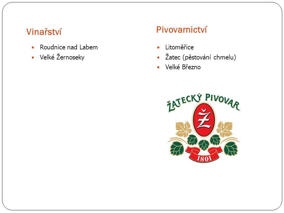 Vinařství Pivovarnictví Roudnice nad Labem Velké Žernoseky Litoměřice Žatec (pěstování chmelu) Velké Březno