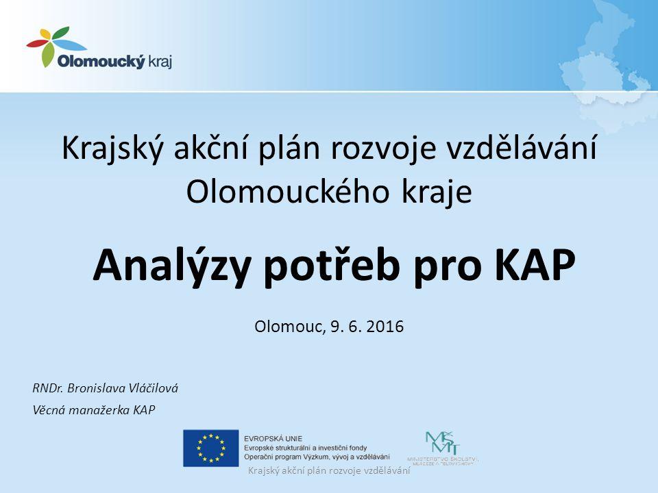 Krajský akční plán rozvoje vzdělávání Olomouckého kraje Analýzy potřeb pro KAP Olomouc, 9.