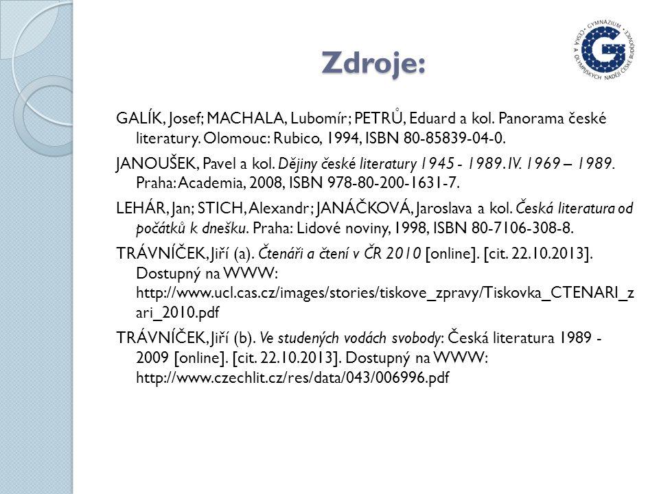 Zdroje: GALÍK, Josef; MACHALA, Lubomír; PETRŮ, Eduard a kol.