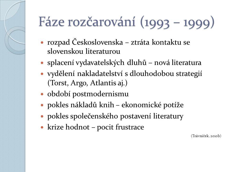 Fáze rozčarování (1993 – 1999) rozpad Československa – ztráta kontaktu se slovenskou literaturou splacení vydavatelských dluhů – nová literatura vydělení nakladatelství s dlouhodobou strategií (Torst, Argo, Atlantis aj.) období postmodernismu pokles nákladů knih – ekonomické potíže pokles společenského postavení literatury krize hodnot – pocit frustrace (Trávníček, 2010b)