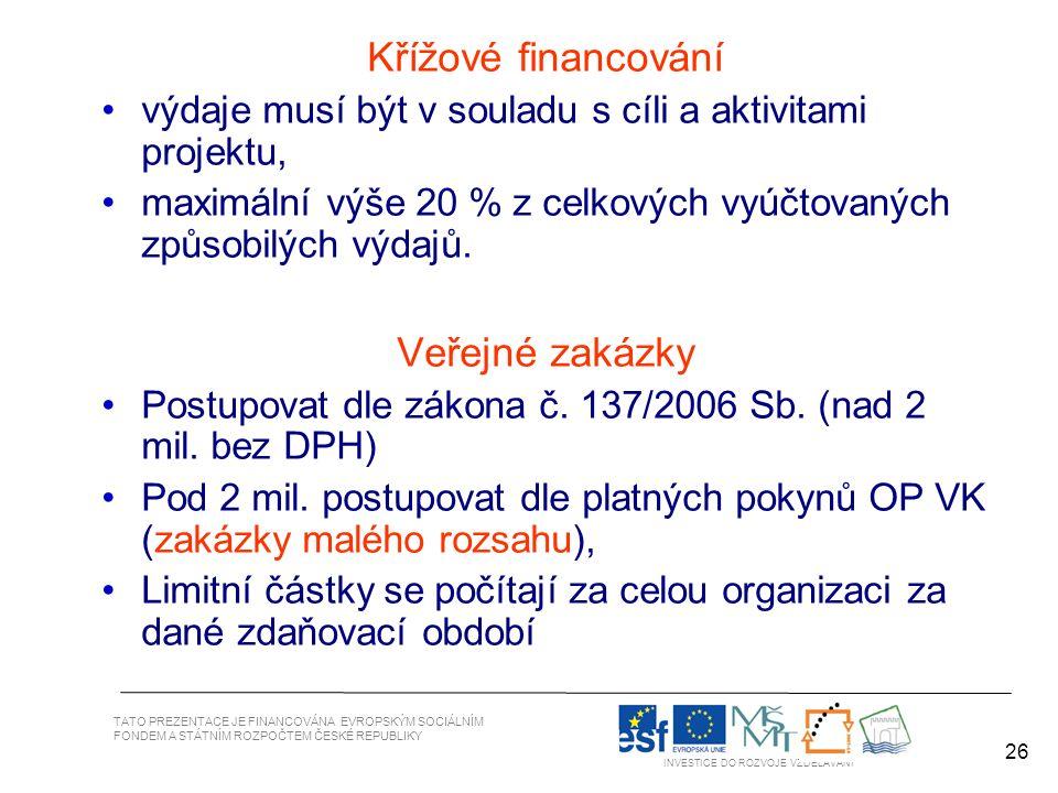 26 TATO PREZENTACE JE FINANCOVÁNA EVROPSKÝM SOCIÁLNÍM FONDEM A STÁTNÍM ROZPOČTEM ČESKÉ REPUBLIKY INVESTICE DO ROZVOJE VZDĚLÁVÁNÍ 26 Křížové financování výdaje musí být v souladu s cíli a aktivitami projektu, maximální výše 20 % z celkových vyúčtovaných způsobilých výdajů.